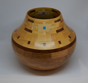 Oak and Yellowheart with Turquoise Vessel