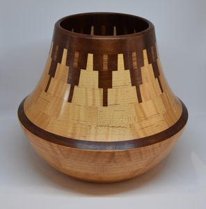 Curly Oak, Paduk, Curly Maple and Nogal Vessel