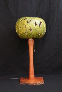 Mesquite lamp with gourd shade (ML102)