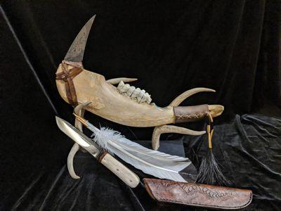 Jaw Bone War Club / Knife display
